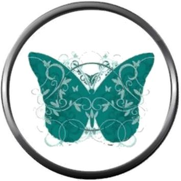 Beautiful Ovarian Cancer Butterfly Teal Awareness Ribbon Support Believe Find Cure 18MM - 20MM Snap Jewelry Charm New Item