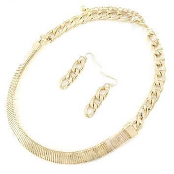 Goldtone 18 Inch Adjustable 14mm Omega Pendant Design and Cuban Link Necklace Jewelry Set