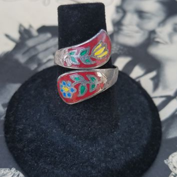 Cloisonne sterling silver red enamel with flowers wrap vintage ring size 7