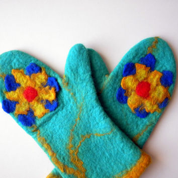 wool felted mittens green yellow blue flower. Handmade Merino wool ready to ship