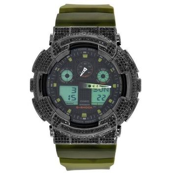 Mens G-Shock Watch GA100MM-4A Black Simulated Diamonds Green Silicone Strap 52mm