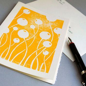 Yellow Linocut Notecard Hand Printed Swaying by CursiveArts