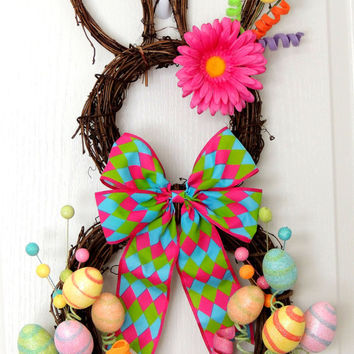 Grapevine Bunny Wreath - Easter Wreath - Spring Wreath - Rabbit wreath - Whimsical Wreath - Easter Bunny Door hanger
