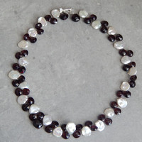 freshwater pearl and garnet necklace in sterling silver
