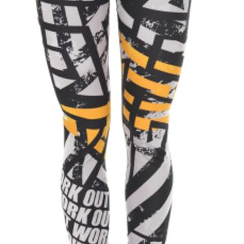 Zohra Unique Design Women Legging Work Out Orange Asphalt Printing Leggings Fashion High Waist Woman Fitness Pants