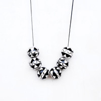 Black And White Ceramic Necklace,Tribal Necklace,Geometric Necklace
