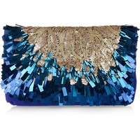 Matthew Williamson | Sequined suede clutch | NET-A-PORTER.COM