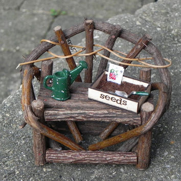 Fairy Garden Twig Bench - miniature with seed tray trowel and miniature water can