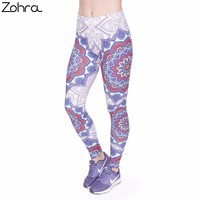 Zohra 2017 Fitness Legging Elegant Red Mandala Printing Fashion Bottoms Sexy High Waist Leggings Women Pants