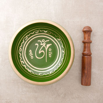 Green Tibetan Om Singing Bowls