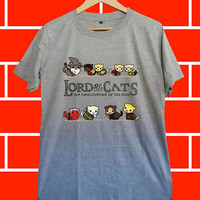 Lord of the cats - Screenprint Grey T shirt for Woman and Mens fast shipping