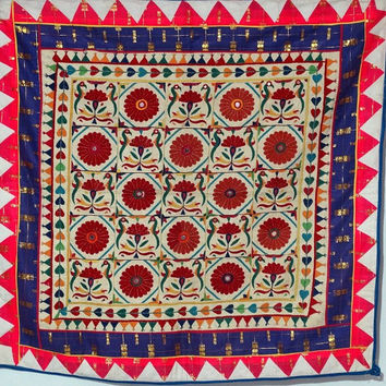 vintage traditional ethnic needle work indian tapestry kutchi orignal wall hanging