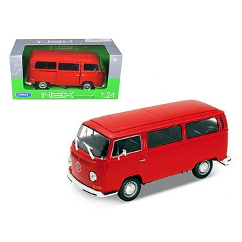 1972 Volkswagen Bus Van T2 Red 1/24 Diecast Model by Welly