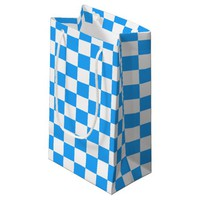 Sky Blue and White Checkerboard Pattern Small Gift Bag