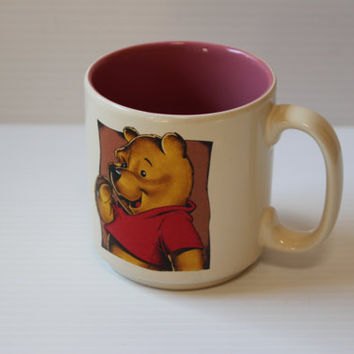 WINNIE the POOH MUG, Vintage ceramic mug, collectible Disney mug, ceramic coffee mug, 1980s Vintage mug,Rose interior Ceramic Coffee/Tea Mug