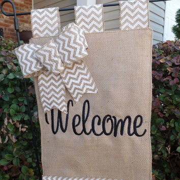 "Burlap  Embroidered Welcome  Garden Flag  11"" x 17"" , yard decoration. house warming gift, wedding gift"