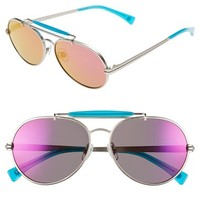 Women's Wildfox 'Goldie Deluxe' 55mm Mirrored Aviator Sunglasses - Silver/ Turks/ Purple Mirror