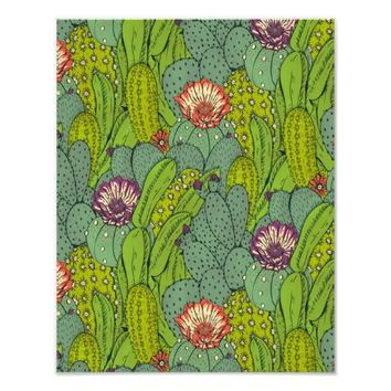 Cactus Flower Pattern Photo Print