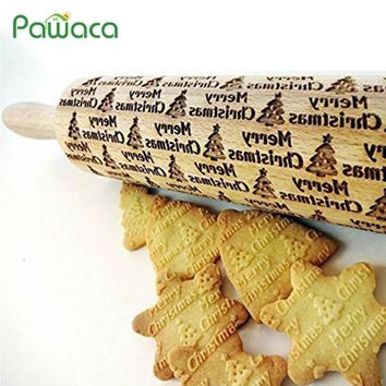 Christmas Embossing Rolling Pin DIY Baking Cookies Biscuit Fondant Cake Dough Engraved Roller Snowman ChristmasTtree 35cm 43cm