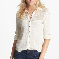 Free People 'Saddle Up' Lace Yoke Shirt | Nordstrom