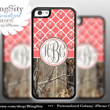 Monogram Iphone 5C case Browning iPhone 5s iPhone 4 case Ipod 4 5 Touch case Real Tree Camo Coral Quatrefoil Personalized Country Girl