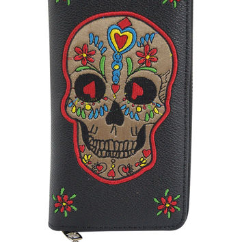 Day of the Dead Candy Sugar Skull Embroidered Zip Around Wallet