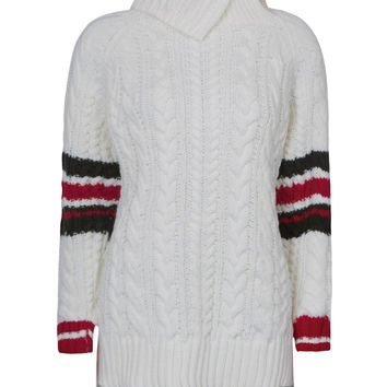 White High Neck Cable Chunky Dipped Hem Knit Sweater