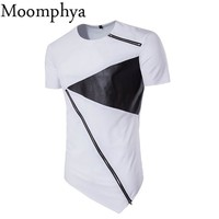 Moomphya 2017 Men leather patchwork zip t shirt irregular leather patch neck zipper t-shirt sharp hem slanting zip t shirt men
