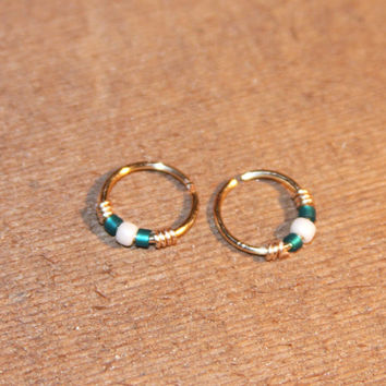 Small Cartilage Earrings, Teal/White Beaded Nose Ring, Nose Hoop, Ear Cuff, Helix Hoop, Nose Rings, Seamless Hoop, Piercing Jewelry, Septum