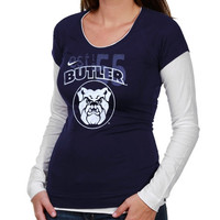 Nike Butler Bulldogs Ladies Sunny Day Cross Campus Double Layer Long Sleeve T-Shirt - Navy Blue/White