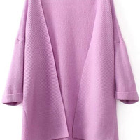 Pink Long Sleeve Knit Cardigan