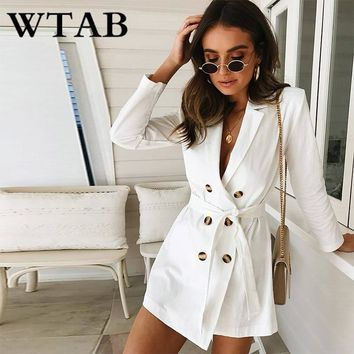 WTAB vestidos autumn and winter casual dress long sleeve lace up button women dress turn-down bodycon mini party dresses femme