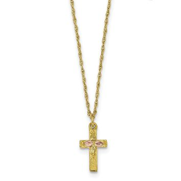 10K Yellow Gold Tri Color Black Hills Gold Cross Necklace 18 IN