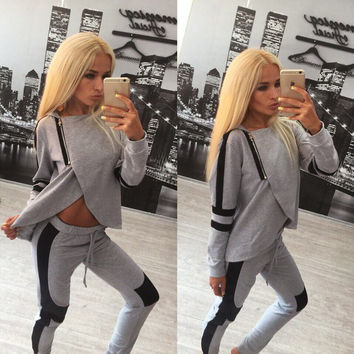 Irregular Zipper Hoodie Top Straight Pant Patchwork Activewear Set