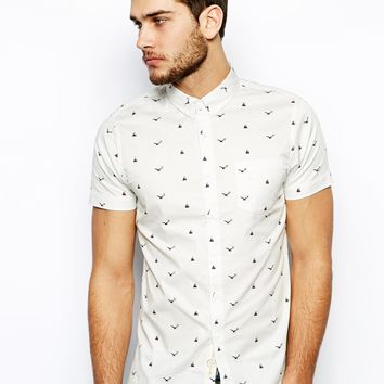 Native Youth Short Sleeve Shirt in Nautical Print