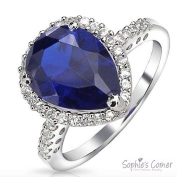 EXQUISITE Pear shape Sapphire & Created Diamond Ring