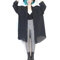 90s Goth Draped Sheer Black Jacket Oversize Kimono  Long Sleeve Swing Cardigan Plus Size Vintage (XL)
