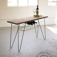 Iron And Wood Console Table With Wine Storage
