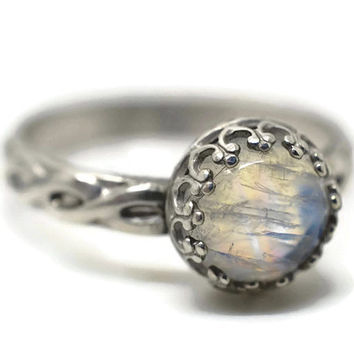 Celtic Moonstone Ring, Rainbow Moonstone Engagement Ring, Celtic Braid Wedding Ring, Silver Cocktail Ring