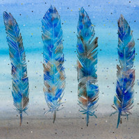 Four Blue Feathers Original Watercolor Painting 8x10 Abstract Feather Artwork Blue Grey Painting
