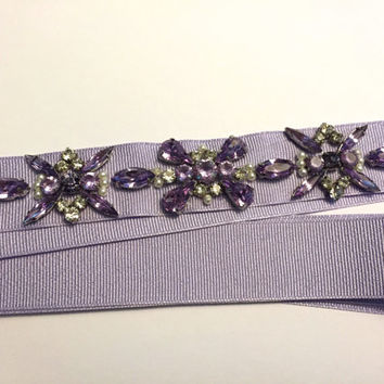 "Lilac or Sky Blue Geometric Floral Crystal and Pearl (5.5"") Motif Grosgrain Ribbon Bridesmaids Belt"