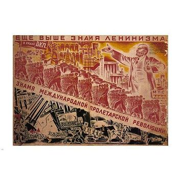 the BANNER of LENINISM vintage POSTER nikolai  KOCHERGIN soviet UNION 24X36- PY1