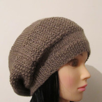 Knitted hat / beret -Nude -Women Winter Slouchy Hat, Women Fashion, Fall Fashion,Slouch Beanie Hat