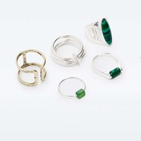 Green Stone Ring Pack - Urban Outfitters