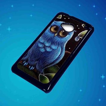Blue Owl For HTC One M7 Case ***