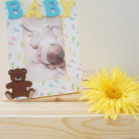 Personalized Baby Footsteps Wooden Picture Frame with Teddy Bear Embellishment Nursery Newborn Baby Shower