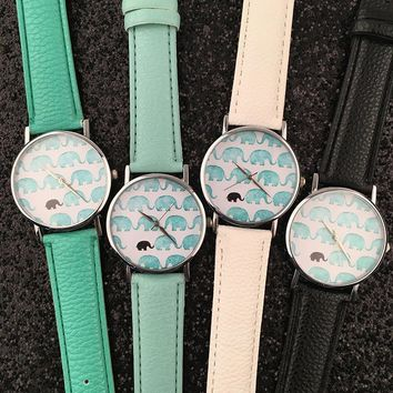new vintage leather elephant watch women dress quartz watches gift box 2