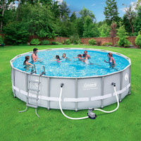 "Walmart: Coleman 16' x 48"" Power Steel Frame Above-Ground Swimming Pool Set"