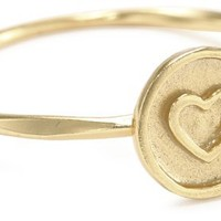 14k Gold Plated Sterling Silver Circle Heart Ring, Size 7