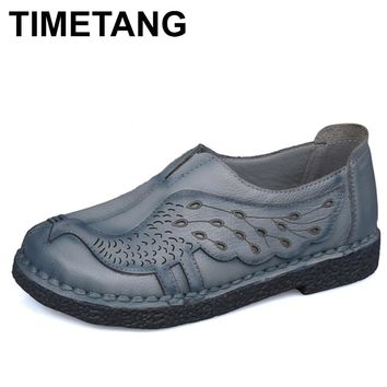 TIMETANG Genuine Leather Flat Shoes Woman Loafers Soft Outsole Handmade Women Casual Single Shoes Women Flats C164